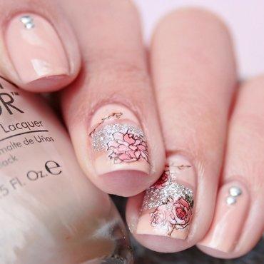 Pink Rose nail art by Romana