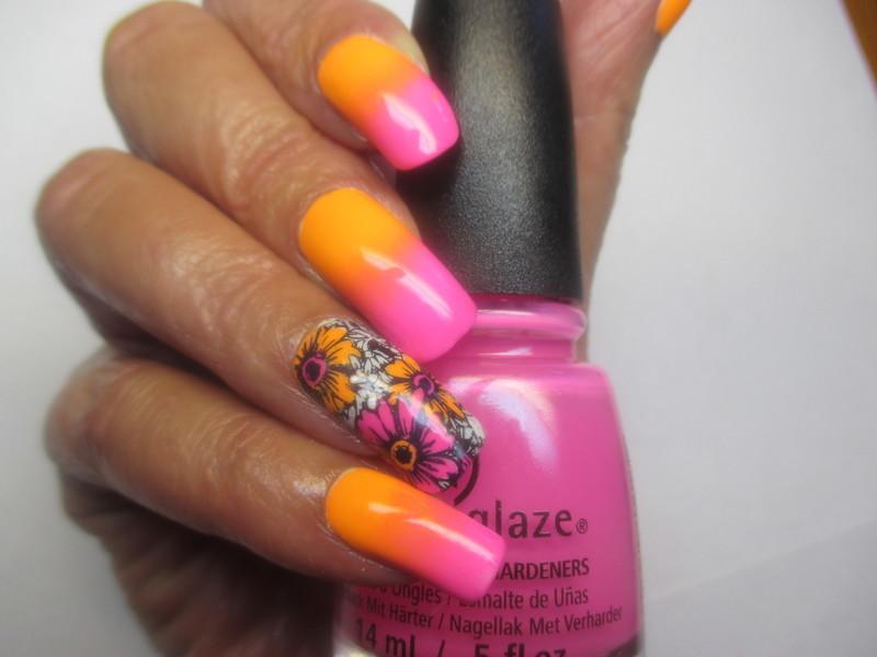 Summer Neon Gradient nail art by NinaB