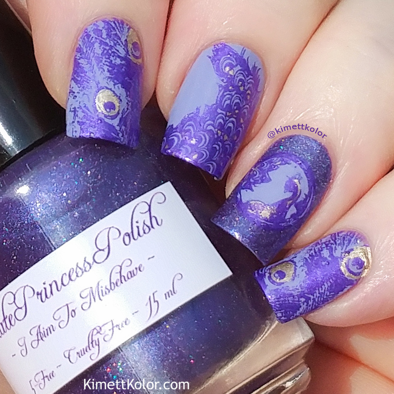 Purple Peacock nail art by Kimett Kolor