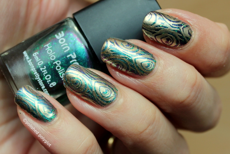 Duochrome Peacock nail art by Polished Polyglot