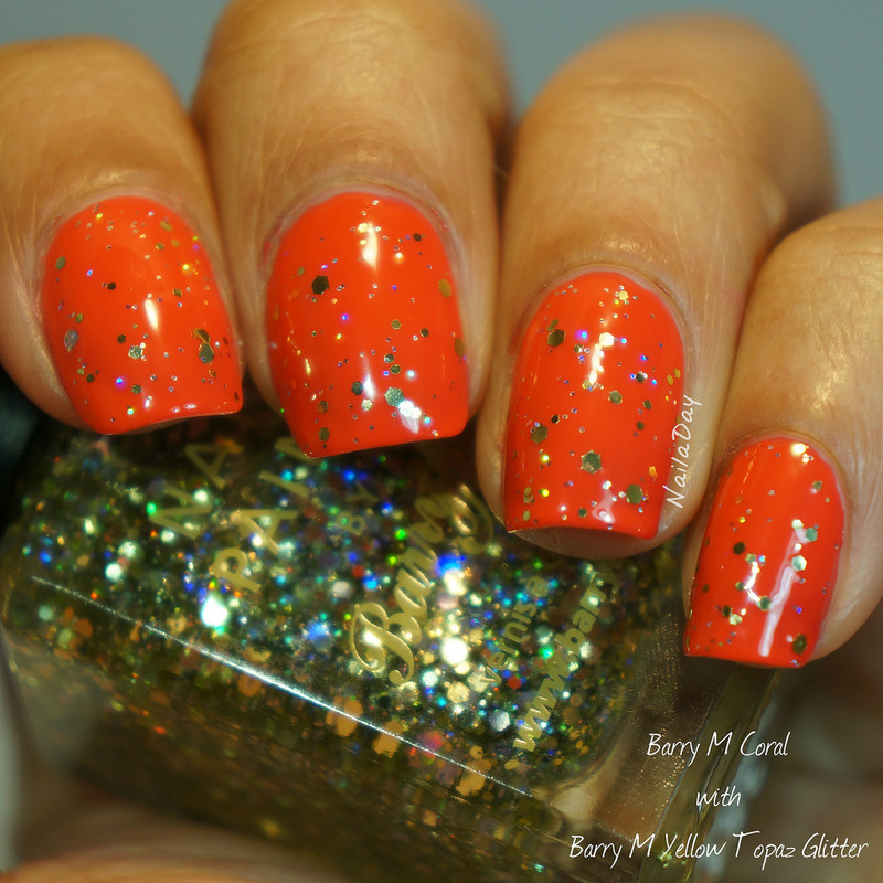 Barry M Coral and Barry M Yellow Topaz Swatch by Nailaday