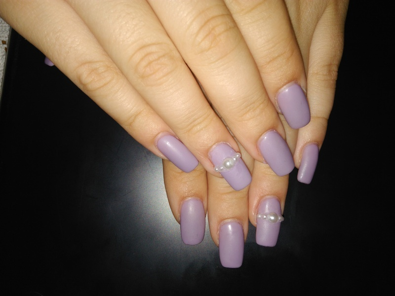 purple gel nails with pearls nail art by vesna - Nailpolis: Museum ...
