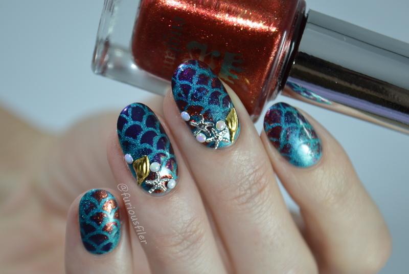 Mermaid  nail art by Furious Filer