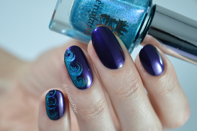 Sea Waves  nail art by Furious Filer