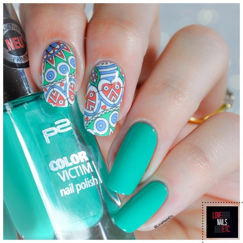 Paisley - Green nail art by Love Nails Etc
