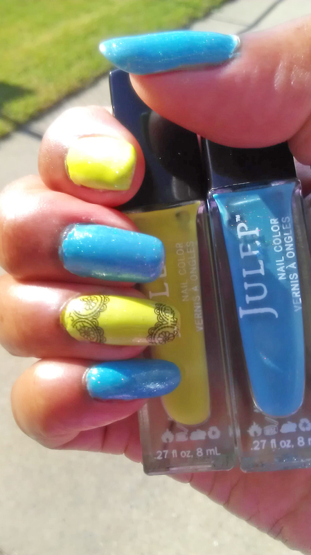 Blue and Lime nail art by Jackie Bodick