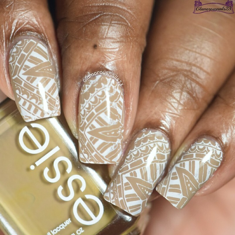 Beige & White Stamping nail art by glamorousnails23