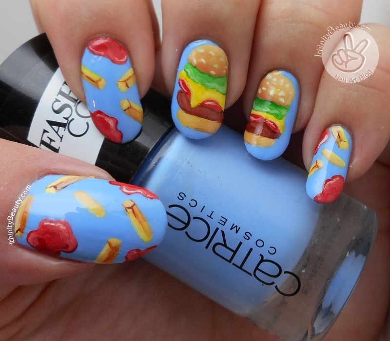 Freehand Burger & Fries nail art by Ithfifi Williams