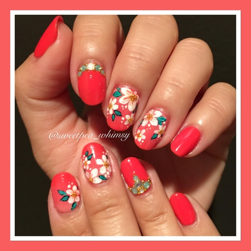 Summer Coral -N- Floral nail art by SweetPea_Whimsy