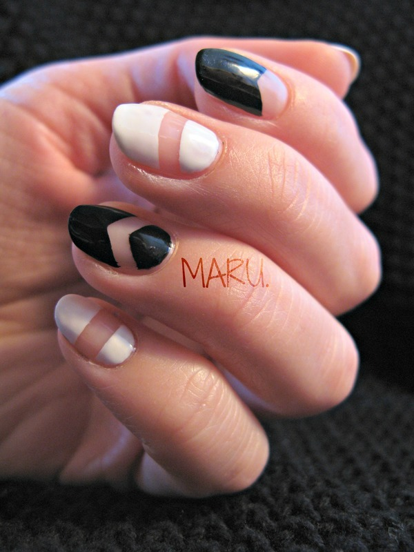 Geometric Monochrome nail art by Martina