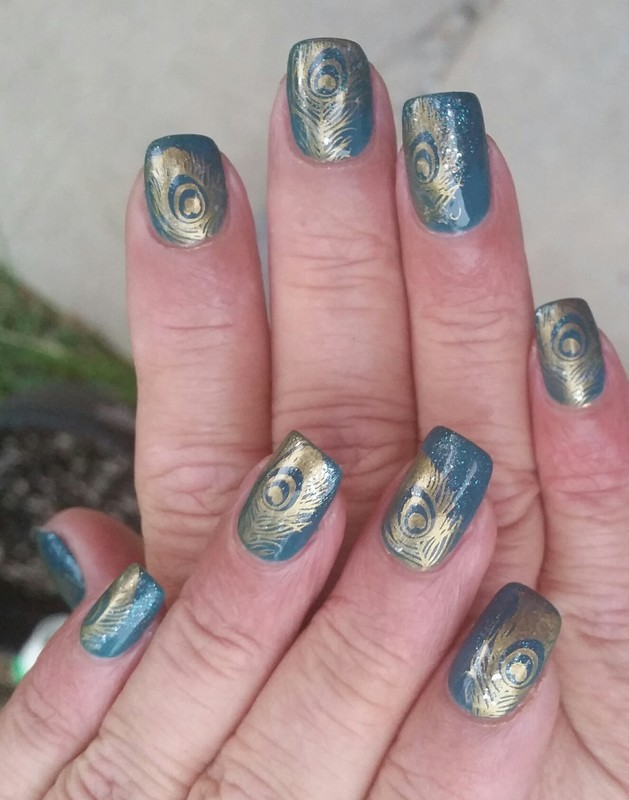 Peacock Feathers  nail art by Holly17