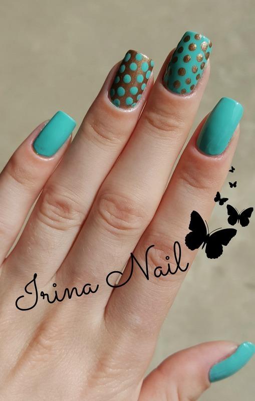 Manicure mint and gold nail art by Irina Nail