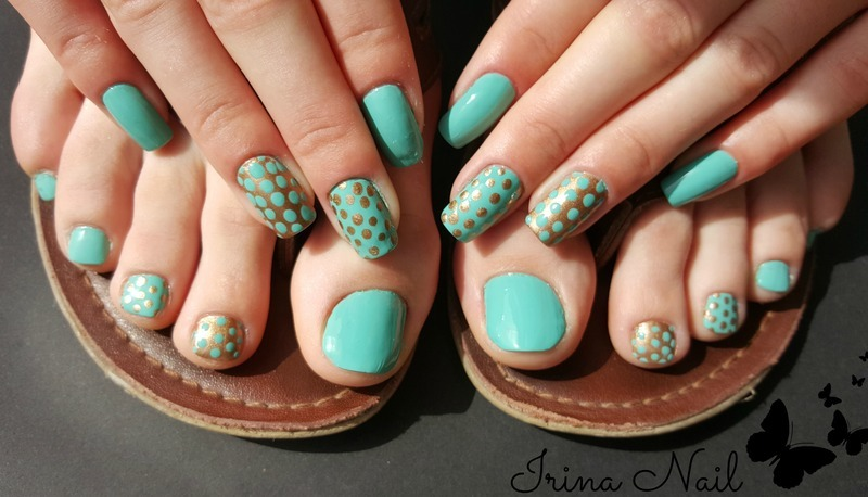 Manicure and pedicure mint nail art by Irina Nail