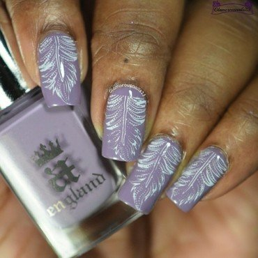 Mauve & White Stamping nail art by glamorousnails23
