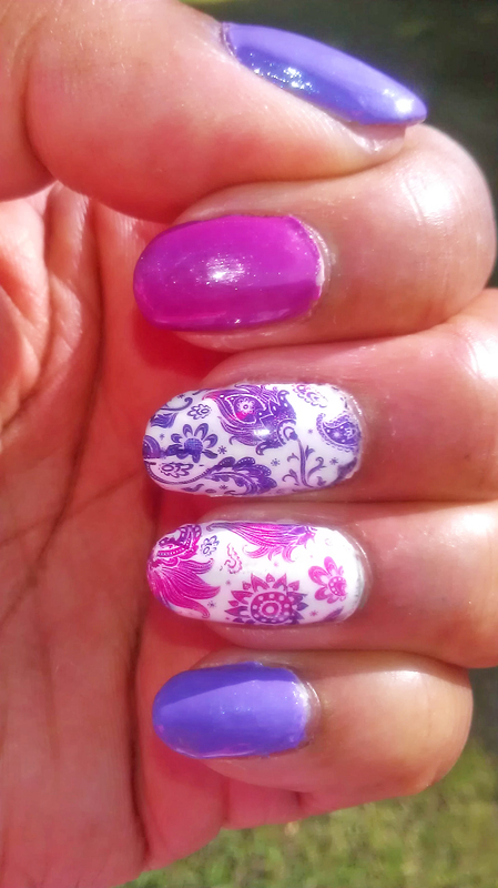 Summer Pink and Purple nail art by Jackie Bodick