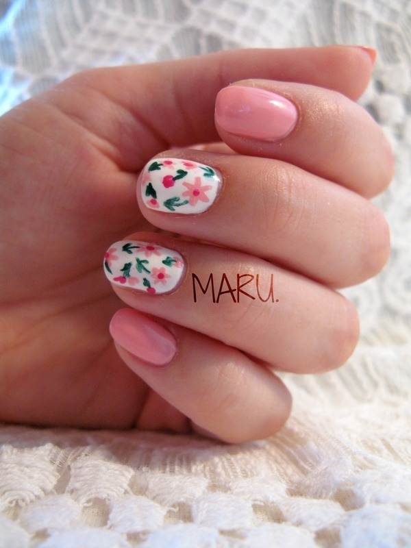Romantic Spring nail art by Martina