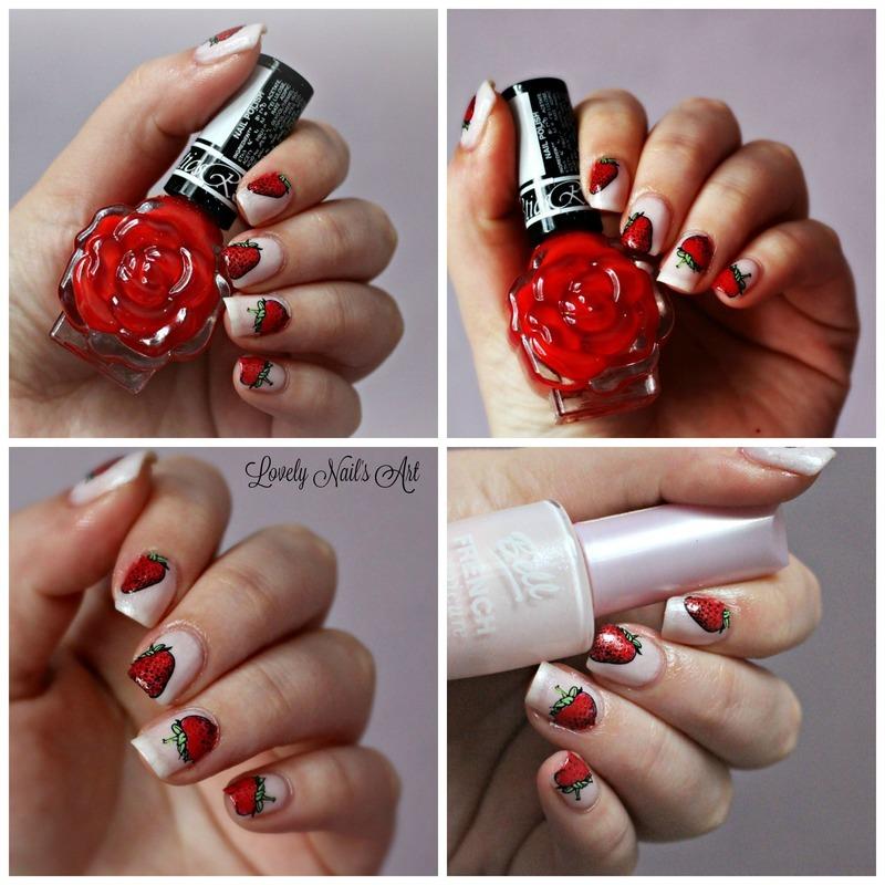 nail art stamping fraises nail art by Lovely Nail's  Art