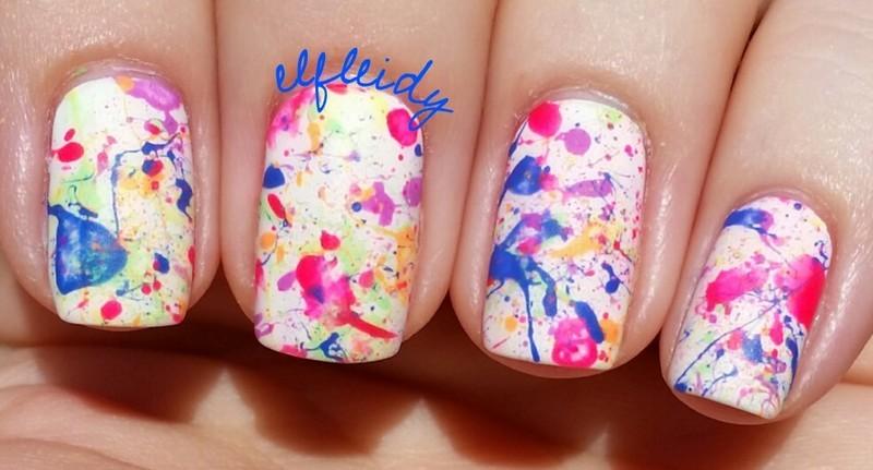 Neon splatter nail art by Jenette Maitland-Tomblin