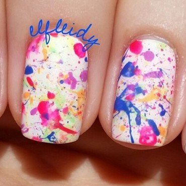 Neon splatter nail art by Jenette Maitland-Tomblin