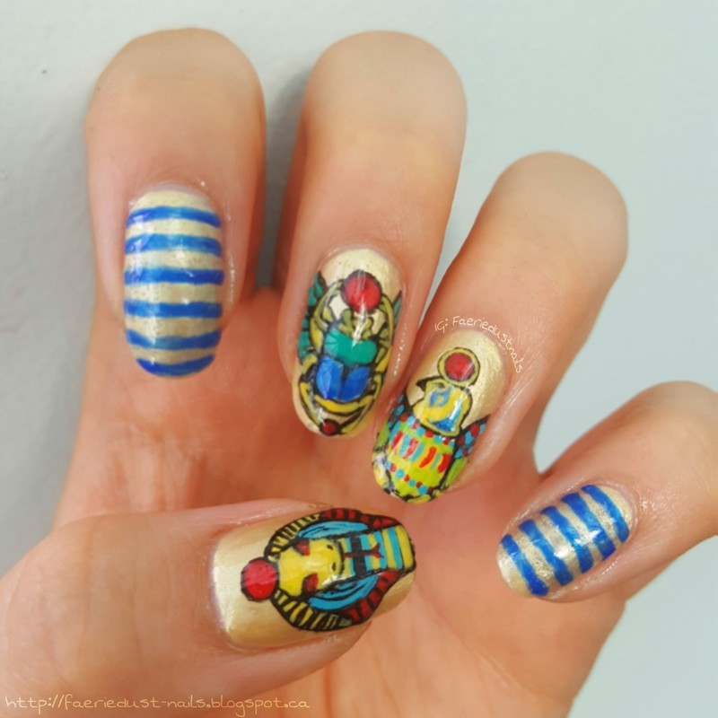 Ancient Egypt Inspired Nails nail art by Shirley X.