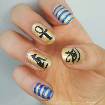 Egyptian Hieroglyphs nail art by Shirley X.