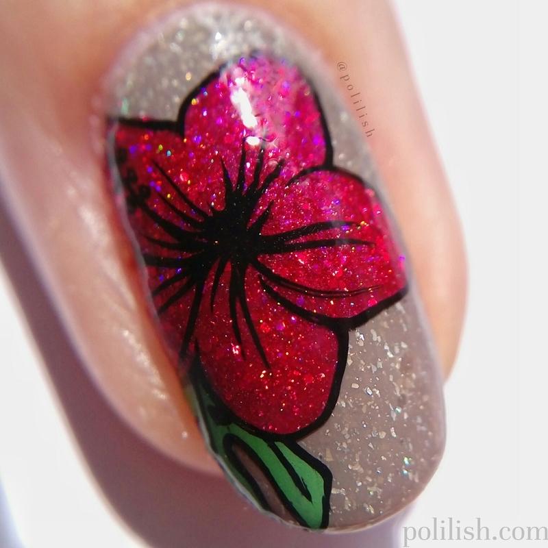 Hibiscus nail art (macro) nail art by polilish