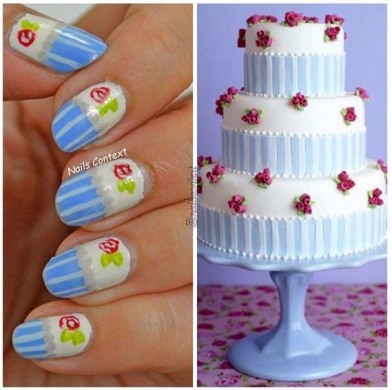 Cake Inspired Vintage Nails  nail art by NailsContext