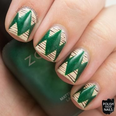 Fashion stripe green diamond nail art 4 thumb370f