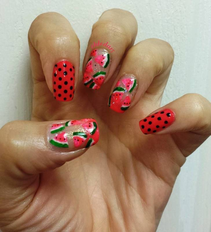 Hot Pink, Cool Watermelon nail art by chleda15