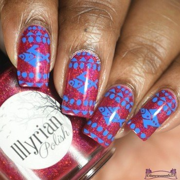 Blue Fish  nail art by glamorousnails23