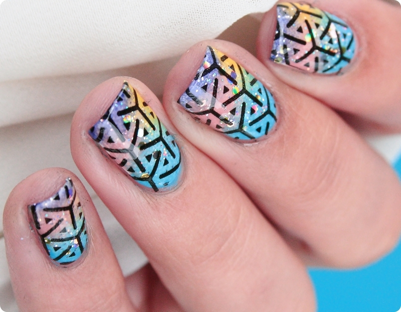 Summer Stamping nail art by Romana