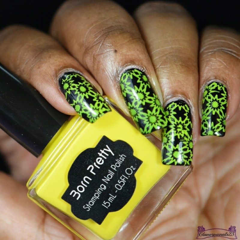 Black & Yellow Stamping nail art by glamorousnails23