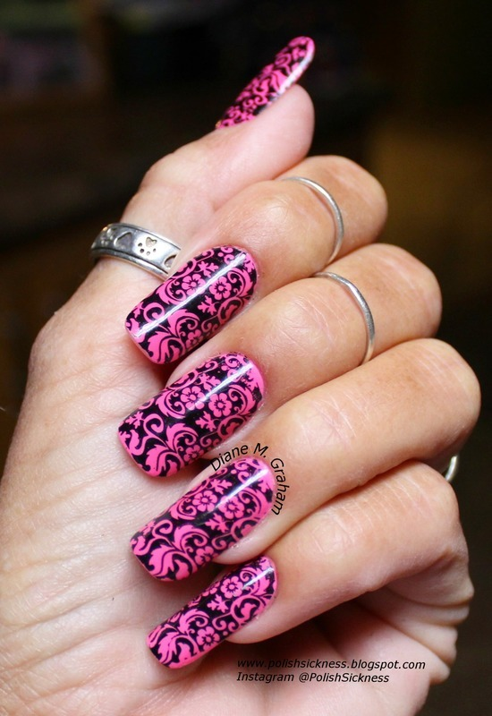 Neon Pink  nail art by PolishSickness