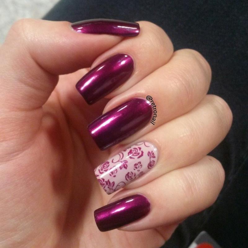 WINE & ROSES nail art by retronail