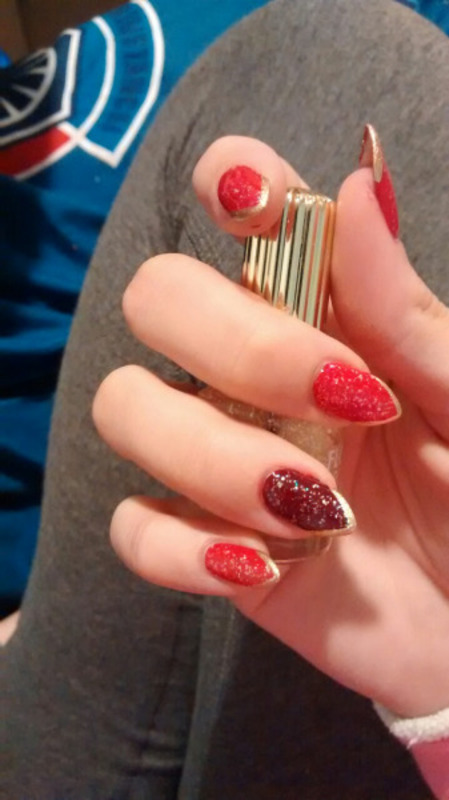 Red and Gold nail art by Emme