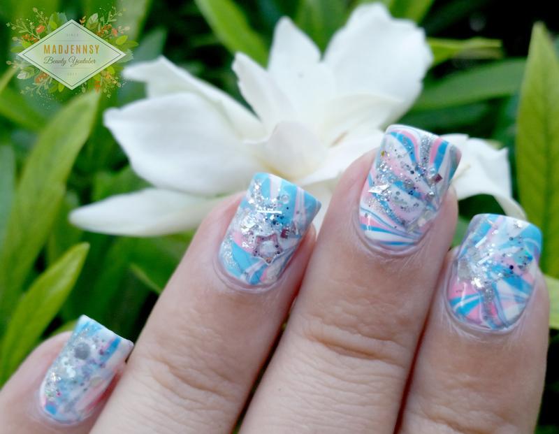 Japanese Water Marble Inspired Nail Art nail art by madjennsy Nail Art