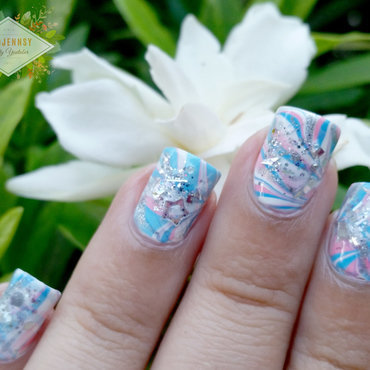 Japanese Water Marble Inspired Nail Art nail art by madjennsy Nail Art