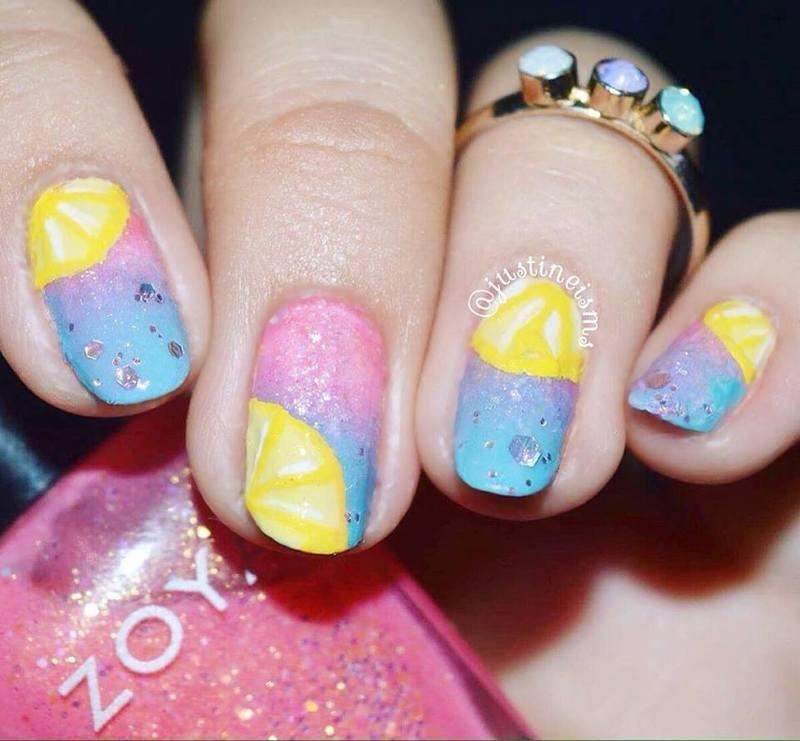 Summer Lemonade nail art by ℐustine