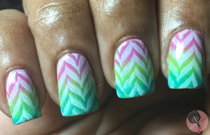 Neon Chevron nail art by Aaliyah