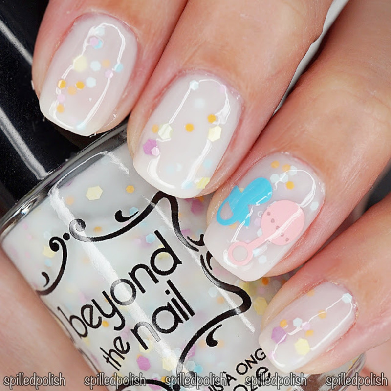 Baby Pacifier & Rattle nail art by Maddy S