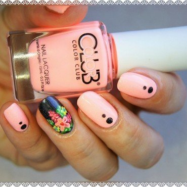 Painted flowers nail art by ELIZA OK-W