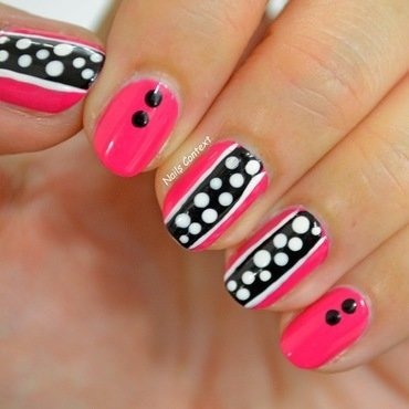 Pink and Polka nail art by NailsContext