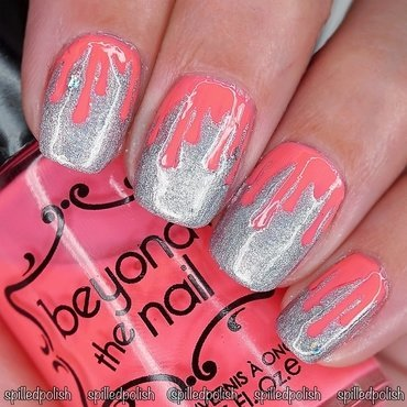 Neon Pink Blood Drips nail art by Maddy S