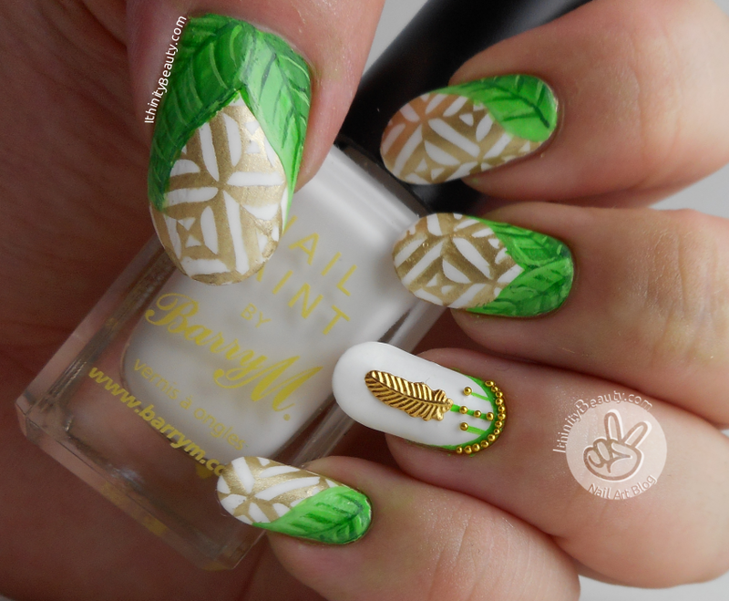 Freehand/Stamped Jungle Princess nail art by Ithfifi Williams