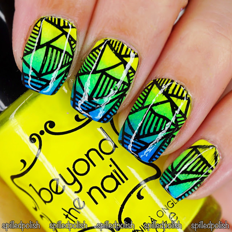 Neon Gradient & Stamping nail art by Maddy S