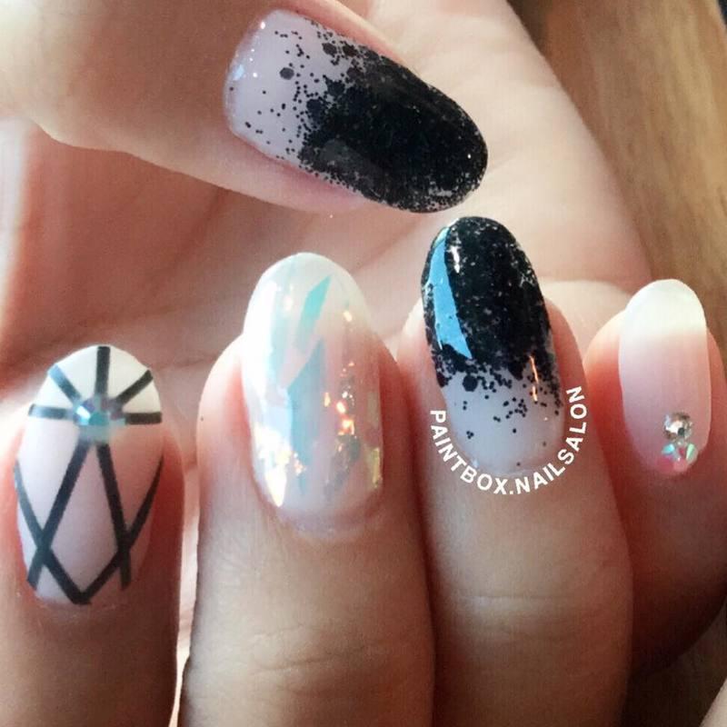 Negative space mani nail art by Paintbox Nail Salon