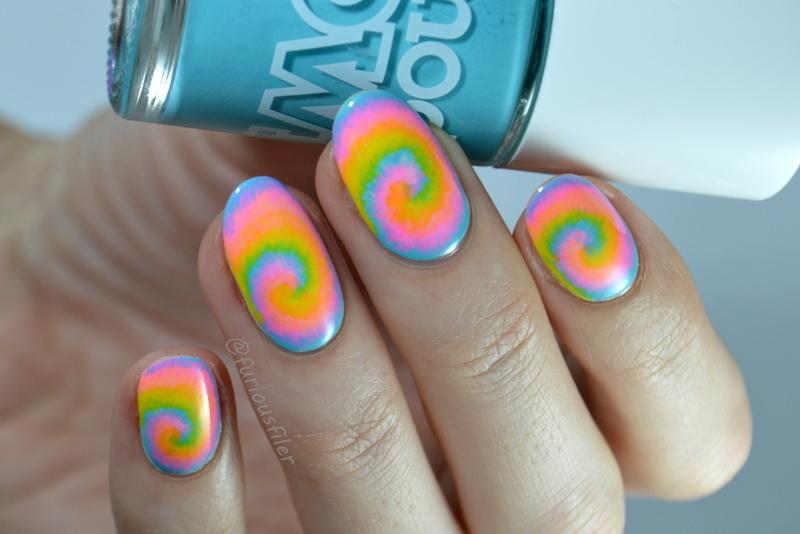 Neon Tie Dye nail art by Furious Filer