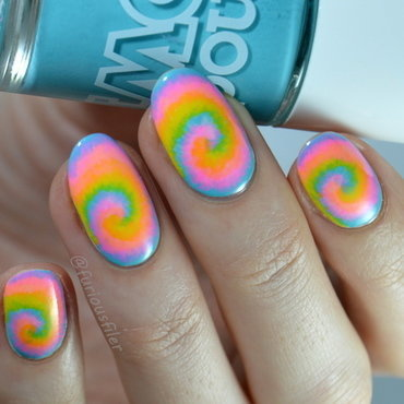 Neon Tie Dye nail art by Furious Filer