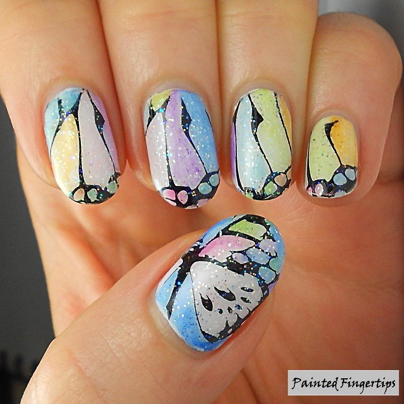 Butterfly Wings nail art by Kerry_Fingertips