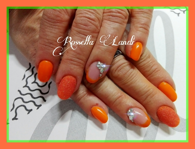 Orange sugar nail art by Rossella Landi